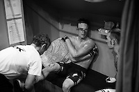 Iljo Keisse (BEL/Etixx-QuickStep) & Michael Mørkøv (DEN/Tinkoff-Saxo) in their track-side booth in between races<br /> <br /> 2015 Gent 6