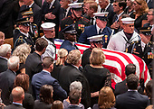 A military honor guard brings the casket of the late United States Senator John S. McCain, III (Republican of Arizona) to the Memorial service in his honor in the Washington National Cathedral in Washington, DC on Saturday, September 1, 2018.<br /> <br /> (RESTRICTION: NO New York or New Jersey Newspapers or newspapers within a 75 mile radius of New York City)