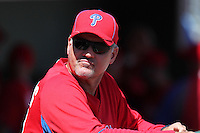 Philadelphia Phillies Ryne Sandberg #23 during a spring training game against the Baltimore Orioles at Bright House Field in Clearwater, Florida;  March 8, 2011.  Photo By Mike Janes/Four Seam Images