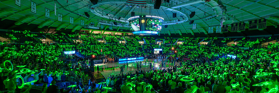 November 11, 2019; Fans wave green glow sticks during player introductions at the Women's Basketball game against Tennessee. (Photo by Matt Cashore/University of Notre Dame)