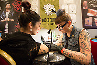 &quot;The other side of the ink&quot;, convention di tatuaggio femminile, Roma, 12 marzo 2017.<br /> &quot;The other side of the ink&quot; female art tattoo convention in Rome, 12 March 2017.<br /> UPDATE IMAGES PRESS/Riccardo De Luca