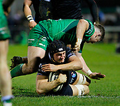 9th February 2018, Galway Sportsground, Galway, Ireland; Guinness Pro14 rugby, Connacht versus Ospreys; James King holds on to the ball for Ospreys as he is tackled