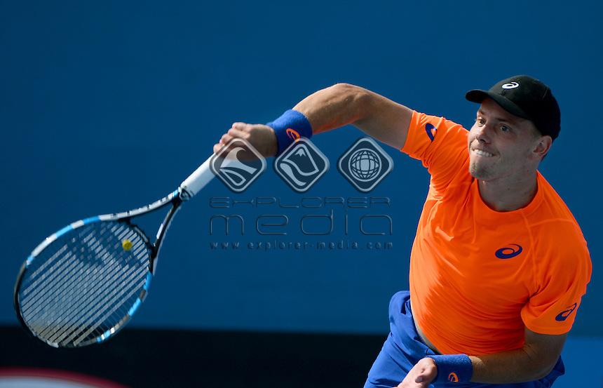 James Duckworth (AUS) round 1 action<br /> 2015 Australian Open Tennis <br /> Grand Slam of Asia Pacific<br /> Melbourne Park, Vic Australia<br /> Monday 19 January 2015<br /> &copy; Sport the library / Jeff Crow