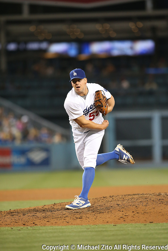 05/17/16 Los Angeles, CA:Los Angeles Dodgers relief pitcher Joe Blanton #55 during an MLB game between the Los Angeles Dodgers and the Los Angeles Angels played at Dodger Stadium