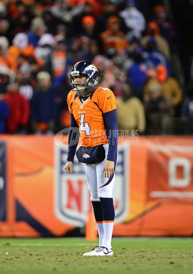 Jan 12, 2013; Denver, CO, USA; Denver Broncos punter Britton Colquitt against the Baltimore Ravens during the AFC divisional round playoff game at Sports Authority Field.  Mandatory Credit: Mark J. Rebilas-