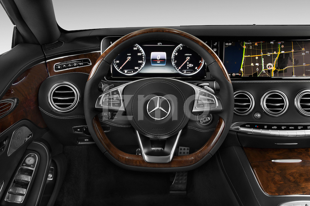 Car pictures of steering wheel view of a 2015 Mercedes Benz S-Class S550 2 Door Coupe Steering Wheel