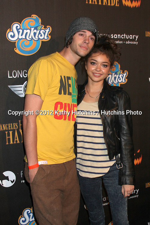 LOS ANGELES - OCT 7:  Matt Prokop, Sarah Hyland arrives at the 4th Annual Los Angeles Haunted Hayride VIP Premiere Night at Griffith Park on October 7, 2012 in Los Angeles, CA