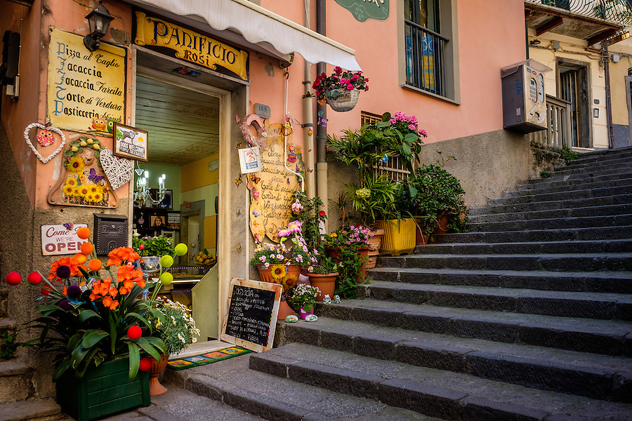 RIOMAGGIORE, ITALY - CIRCA MAY 2015:  Typical store in the village of Riomaggiore in Cinque Terre, Italy.