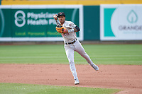 Wisconsin Timber Rattlers shortstop Yeison Coca (1) during a Midwest League game against the Lansing Lugnuts at Cooley Law School Stadium on May 1, 2019 in Lansing, Michigan. Wisconsin defeated Lansing 8-3 after the game was suspended from the previous night. (Zachary Lucy/Four Seam Images)