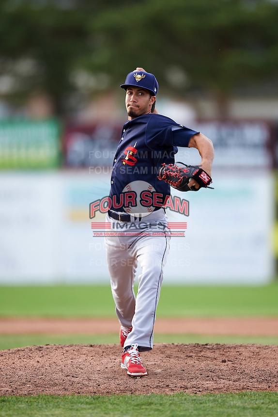 State College Spikes starting pitcher Dailyn Martinez (22) delivers a pitch during a game against the Batavia Muckdogs on June 22, 2016 at Dwyer Stadium in Batavia, New York.  State College defeated Batavia 11-1.  (Mike Janes/Four Seam Images)