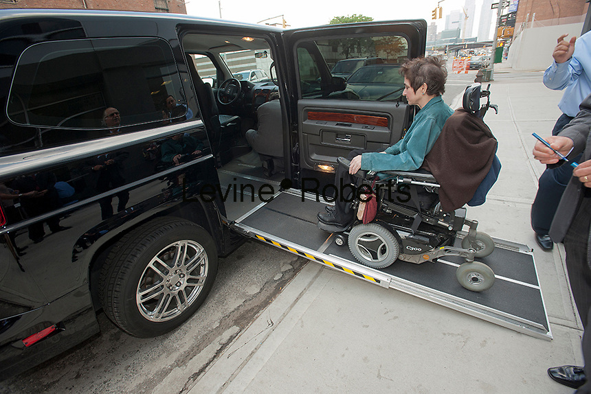 The non-taxi version of the MV-1 handicapped accessible vehicle is seen at a news conference at the Manhattan Motorcars dealership in New York on Wednesday, May 23, 2012. Manufactured in Mishawaka, IN by VPG (Vehicle Production Group) the cab, available in combustion engine and cng fuel options, is equipped with motorized ramps to assist the wheelchair bound and is over-sized to accommodate the mobility devices as well as providing increased comfort to non-disabled riders. Costing a base of $49,000 for a cng equipped engine the cab will save as much as $70,000 in fuel costs over its 7 year life span. (© Richard B. Levine)