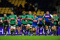 The Pau team run around the pitch during the pre-match warm-up. European Rugby Challenge Cup match, between Pau (Section Paloise) and Bath Rugby on October 15, 2016 at the Stade du Hameau in Pau, France. Photo by: Patrick Khachfe / Onside Images