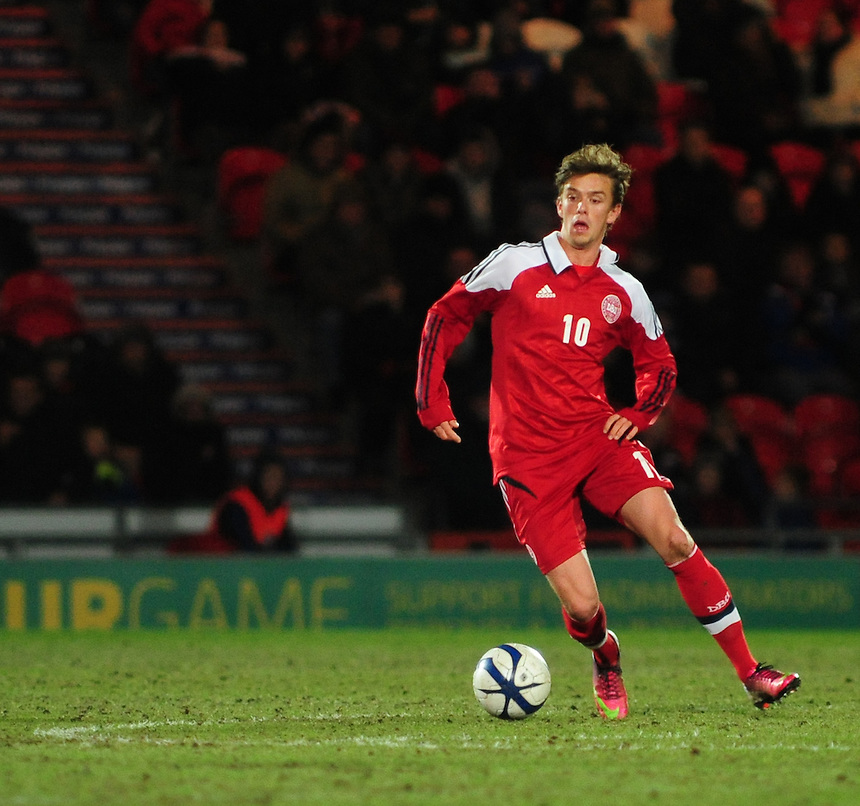 Denmark's Danny Amankwaa ..Football - U19 International Friendly - England v Denmark - Tuesday 5th February 2013 - Keepmoat Stadium - Doncaster..
