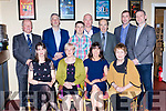 The late Kevin Casey family and friends at his tribute night in the Gleneagle Hotel on Saturday night front row Majella O'Connell, Mary Casey, Marguerite Casey and Helen Savage, back row: Gerard Savage, John Herlihy, Martin Casey, paddy Casey, James O'Connor ad Adrian O'Sullivan