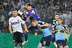09.08.2019, BWT-Stadion am Hardtwald, Sandhausen, GER, DFB Pokal, 1. Runde, SV Sandhausen vs. Borussia Moenchengladbach, <br /> <br /> DFL REGULATIONS PROHIBIT ANY USE OF PHOTOGRAPHS AS IMAGE SEQUENCES AND/OR QUASI-VIDEO.<br /> <br /> im Bild: Yann Sommer (#1, Borussia Moenchengladbach) und Matthias Ginter (Borussia Moenchengladbach #28) gegen Aleksandr Zhirov (SV Sandhausen #2)<br /> <br /> Foto © nordphoto / Fabisch