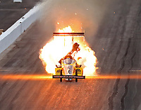 Feb 23, 2018; Chandler, AZ, USA; NHRA top fuel driver Richie Crampton explodes an engine on fire during qualifying for the Arizona Nationals at Wild Horse Pass Motorsports Park. Mandatory Credit: Mark J. Rebilas-USA TODAY Sports