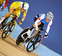 06 AUG 2012 - LONDON, GBR - Tara Whitten (CAN) (right) of Canada leads Annette Edmondson (AUS) of Australia during the Women's Omnium 20km Points Race at the London 2012 Olympic Games track cycling at the Olympic Park Velodrome in Stratford, London, Great Britain (PHOTO (C) 2012 NIGEL FARROW)