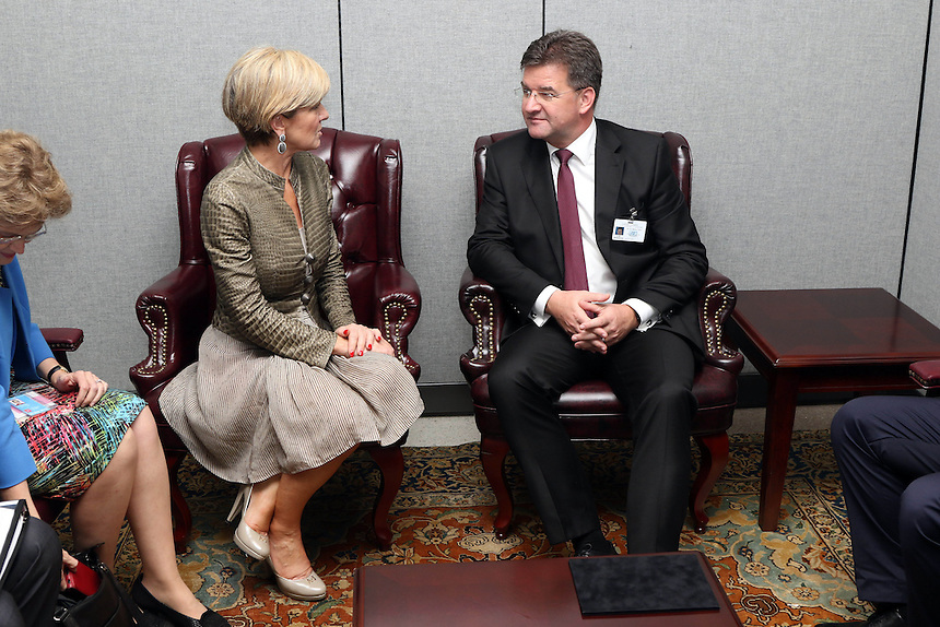Australian Minister for Foreign Affairs Julie Bshop meeting with Meeting with Mr Lajcák, Minister for Foreign and European Affairs of the Slovak Republic at UN Headquarters in New York, Monday September 19, 2016. photo by Trevor Collens/DFAT