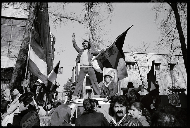 Pro-Bakhtiar supporters stage a rally before Khomeini's return..Tehran, January 28, 1979