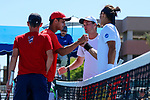 SURPRISE, AZ - MAY 12: Kiranpal Pannu and Matei Avram, left,  of the Columbus State Cougars shake hands with Pierre Montrieul, right, and Blake Blaydon of the Barry Buccaneers during the Division II Men's Tennis Championship held at the Surprise Tennis & Racquet Club on May 12, 2018 in Surprise, Arizona. (Photo by Jack Dempsey/NCAA Photos via Getty Images)