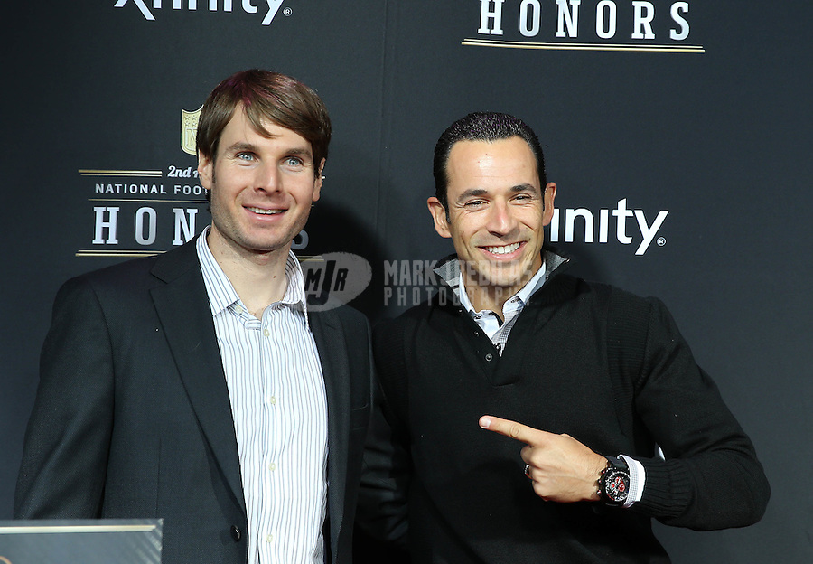 Feb. 2, 2013; New Orleans, LA, USA: Indy Car Series driver Helio Castroneves (right) with teammate Will Power on the red carpet prior to the Super Bowl XLVII NFL Honors award show at Mahalia Jackson Theater. Mandatory Credit: Mark J. Rebilas-USA TODAY Sports