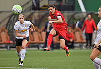 Portland, OR - Sunday Oct. 02, 2016: Christine Sinclair shoots and scores during a National Women's Soccer League (NWSL) semi-finals match between the Portland Thorns FC and the Western New York Flash at Providence Park.