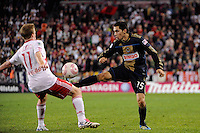 Gabriel Farfan (15) of the Philadelphia Union plays the ball. The New York Red Bulls defeated the Philadelphia Union  1-0 during a Major League Soccer (MLS) match at Red Bull Arena in Harrison, NJ, on October 20, 2011.