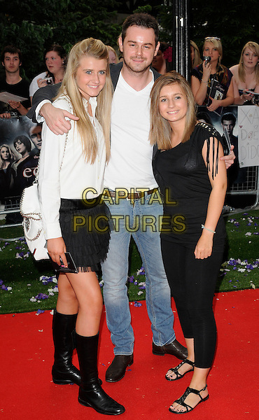 "DANNY DYER & GUESTS .UK Gala Premiere of ""The Twilight Saga: Eclipse"" at the Odeon Leicester Square, London, England, UK, July 1st 2010. .full length black jacket jeans daughters family girls white t-shirt.CAP/CAN.©Can Nguyen/Capital Pictures."