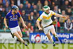 Brendan Brosnan Lixnaw in action against Daniel Collins Kilmoyley in the County Senior Hurling final at Austin Stack Park on Saturday.