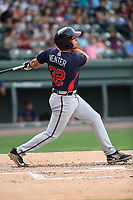 First baseman Brendan Venter (32) of the Rome Braves bats in a game against the Greenville Drive on Wednesday, July 11, 2018, at Fluor Field at the West End in Greenville, South Carolina. He is the Atlanta Braves' 2018 13th-round draft pick. (Tom Priddy/Four Seam Images)