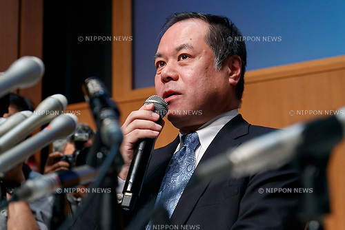 Yoichiro Shinozaki, President of Harenohi company, speaks during a news conference on January 26, 2018, Yokohama, Japan. Shinozaki answered questions from reporters and apologized after the kimono rental company had caused more than JPY200 million damages to customers who couldn't dress up for this year's Coming-of-Age Day ceremony. (Photo by Rodrigo Reyes Marin/AFLO)