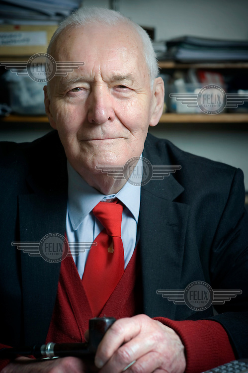 Tony Benn, a left-wing former MP and Minister in successive Labour Party governments. Photographed in the study of his home in Holland Park, West London..