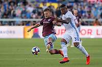 SAN JOSÉ CA - JULY 27: Diego Rubio #7, Harold Cummings #31 during a Major League Soccer (MLS) match between the San Jose Earthquakes and the Colorado Rapids on July 27, 2019 at Avaya Stadium in San José, California.