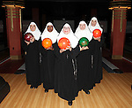 Christine Mild, Bambi Jones, Cindy Williams, Jeanne Tinker and Stephanie Wahl attend 'Nunset Boulevard: The Nunsense Hollywood Bowl Show' cast photo call at Bowlmor Lanes on September 27, 2012 in New York City.