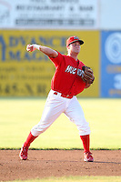 Batavia Muckdogs second baseman Joey Bergman (40)  during a game vs. the Auburn Doubledays at Dwyer Stadium in Batavia, New York June 19, 2010.   Batavia defeated Auburn 2-1.  Photo By Mike Janes/Four Seam Images