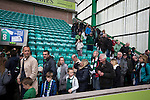 Home supporters making their way from the Famous Five Stand at Easter Road stadium at the conclusion of the Scottish Championship match between Hibernian and visitors Alloa Athletic. The home team won the game by 3-0, watched by a crowd of 7,774. It was the Edinburgh club's second season in the second tier of Scottish football following their relegation from the Premiership in 2013-14.