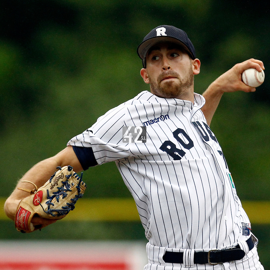 17 July 2011: Starting pitcher Jordan Crystal pitches against Montpellier during the 2011 Challenge de France match won 3-1 by the Rouen Huskies over the Montpellier Barracudas at Stade Pierre Rolland, in Rouen, France.