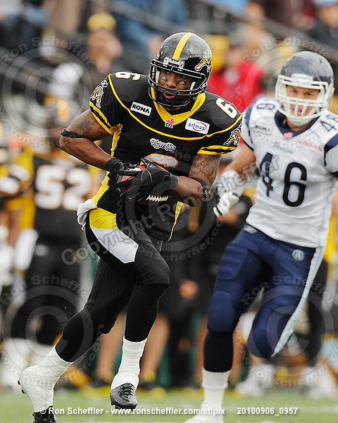 September 6, 2010; Hamilton, ON, CAN; Hamilton Tiger-Cats wide receiver Marquay McDaniel (6). CFL football: Labour Day Classic - Toronto Argonauts vs. Hamilton Tiger-Cats at Ivor Wynne Stadium. The Tiger-Cats defeated the Argonauts 28-13. Mandatory Credit: Ron Scheffler.
