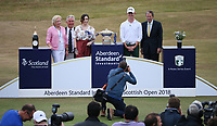 Closing ceremony; Brandon Stone (RSA) wins the Final Round of the ASI Scottish Open 2018, at Gullane, East Lothian, Scotland.  15/07/2018. Picture: David Lloyd | Golffile.<br /> <br /> Images must display mandatory copyright credit - (Copyright: David Lloyd | Golffile).