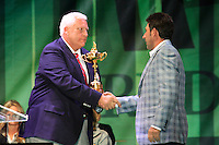 Jose Maria Olazabal being presented with the Ryder Cup during the closing ceremony of the 39th Ryder Cup at Medinah Country Club, Chicago, Illinois  (Photo Colum Watts/www.golffile.ie)