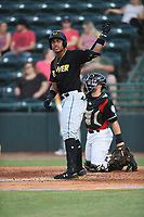 Julio Rodriguez (44) of the West Virginia Power at bat during a game against the Hickory Crawdads at L.P. Frans Stadium on July 25, 2019 in Hickory, North Carolina. The Power defeated the Crawdads 3-2. (Tracy Proffitt/Four Seam Images)