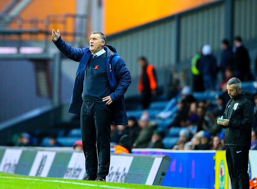 Blackburn Rovers manager Tony Mowbray shouts instructions to his team from the technical area<br /> <br /> Photographer Alex Dodd/CameraSport<br /> <br /> The EFL Sky Bet Championship - Blackburn Rovers v Queens Park Rangers - Saturday 3rd November 2018 - Ewood Park - Blackburn<br /> <br /> World Copyright © 2018 CameraSport. All rights reserved. 43 Linden Ave. Countesthorpe. Leicester. England. LE8 5PG - Tel: +44 (0) 116 277 4147 - admin@camerasport.com - www.camerasport.com