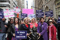 NEW YORK, NY - JUNE 4:  Alyssa Milano, US Congresswoman Carolyn Maloney (D-NY) and the ERA Coalition call for ratification of the Equal Rights Amendment (H.J. Res. 33) at a press conference in front of the 'Fearless Girl' statute in Wall Street  in New York, New York on June 4, 2018.  <br /> CAP/MPI/RMP<br /> &copy;RMP/MPI/Capital Pictures