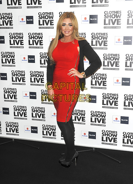 Lauren Goodger.Birmingham - Day One of 'Clothes Show Live' at the NEC, Birmingham, UK, December 2nd 2011..full length red dress hand on hip black  tights cardigan shoes  zip side peep toe gold wrist watch .CAP/ROS.©Steve Ross/Capital Pictures