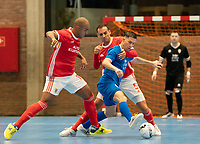 20191012 - HALLE: Halle-Gooik's Leonardo Alexio Carello (11) is trying to play the ball and Benfica's Fits (19) and Fabio Cecilio (5) are defending during the UEFA Futsal Champions League Main Round match between FP Halle-Gooik (BEL) and SL Benfica (POR) on 12th October 2019 at De Bres Sportcomplex, Halle, Belgium. PHOTO SPORTPIX | SEVIL OKTEM
