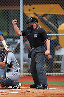 Umpire Jennifer Pawol during a game between the GCL Tigers West and GCL Tigers East on August 4, 2016 at Tigertown in Lakeland, Florida.  GCL Tigers West defeated GCL Tigers East 7-3.  (Mike Janes/Four Seam Images)