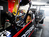 Feb 10, 2018; Pomona, CA, USA; NHRA top fuel driver Leah Pritchett during qualifying for the Winternationals at Auto Club Raceway at Pomona. Mandatory Credit: Mark J. Rebilas-USA TODAY Sports