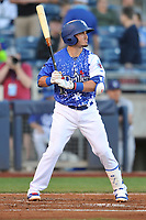 Tulsa Drillers second baseman Omar Estevez (6) in action against the Corpus Christi Hooks at Oneok Stadium on May 4, 2019 in Tulsa, Oklahoma.  The Hooks won 9-7.  (Dennis Hubbard/Four Seam Images)