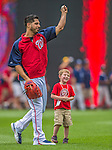 9 June 2013: Washington Nationals Director of Media Relations Mike Gazda's son Josh watches pitcher Gio Gonzalez toss a baseball in right field prior to a game between the Minnesota Twins and the Washington Nationals at Nationals Park in Washington, DC. The Nationals shut out the Twins 7-0 in the first game of their day/night double-header. Mandatory Credit: Ed Wolfstein Photo *** RAW (NEF) Image File Available ***