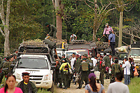 PARAISO - META - COLOMBIA, 05-02-2017: Guerrilleros de las FARC-EP se molvilizan a la zona veredal de El Paraiso, Meta, en Colombia como parte del proceso de dejación de armas y cumplir con los pactos de Paz acordados con el gobierno de Colombia. / Guerrillas of the FARC-EP are molvilized to the veredal zone of El Paraiso, Meta, in Colombia as part of the process of abandonment of arms and to comply with the pacts of Peace agreed with the government of Colombia. Photo: VizzorImage /  Nelson Cardenas - SIG / HANDOUT PICTURE; MANDATORY EDITORIAL USE ONLY/ NO MARKETING, NO SALES